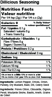 Dillicious Seasoning Mix Nutrition Facts