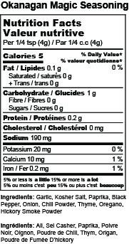 Okanagan Magic Seasoning Mix Nutrition Facts